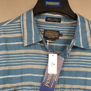 NWT• Pendleton • fitted • stripe button up  Sz L